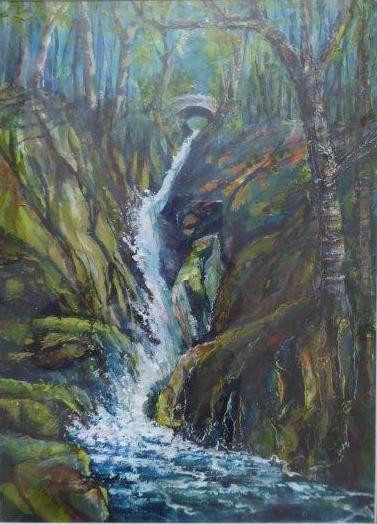 Jane Dalton - Aira Force Waterfall (Framed) - Watercolour & Acrylic ink - 42 x 52 cm - £110