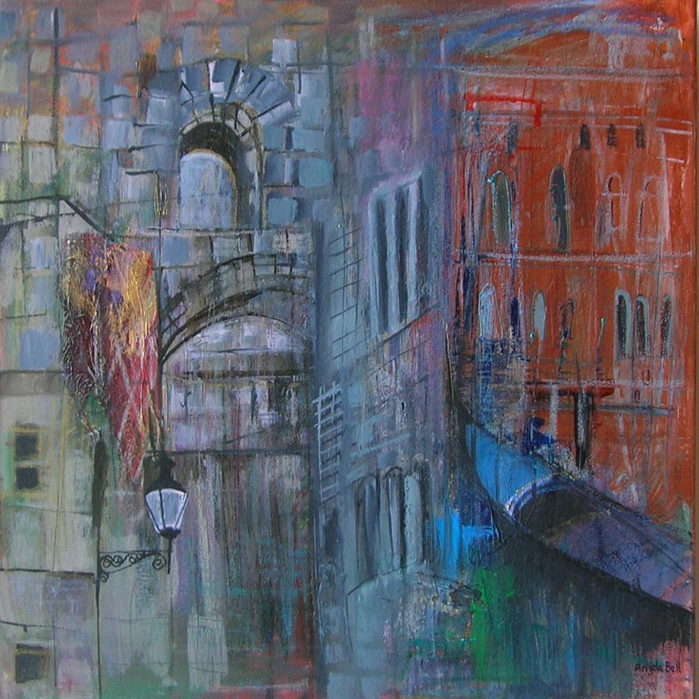 Angela Bell - Blue Gondola - Mixed Media - 60 x 60 box canvas - £265