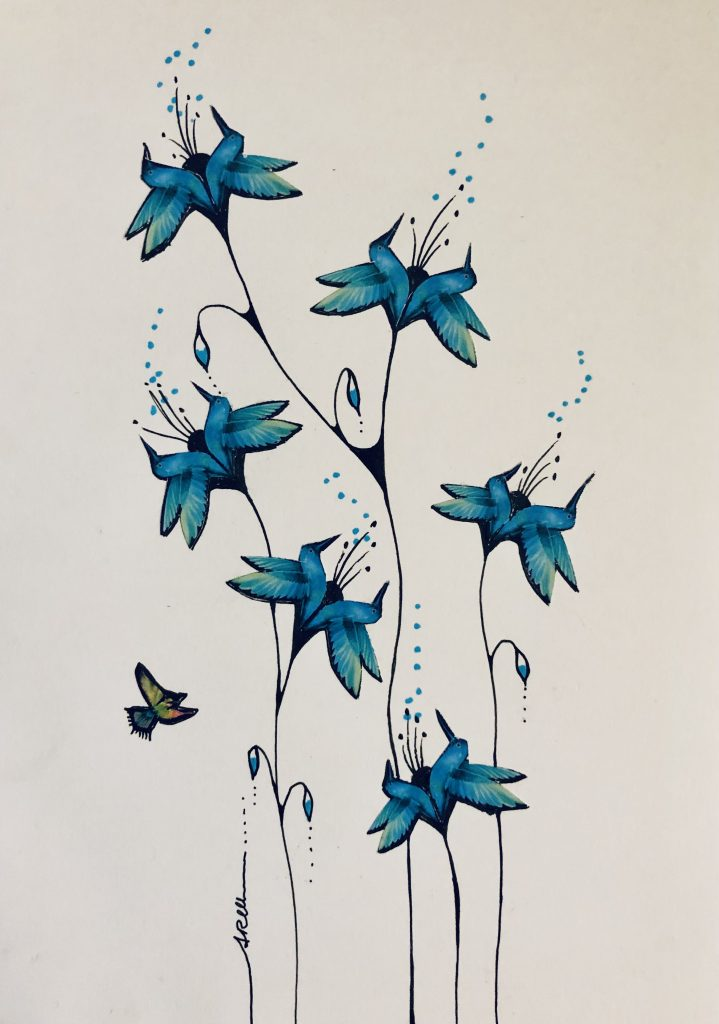 Annarita Mazzilli - Blue birds - Collage & pen drawing - 14.5 x 21 cm - £100