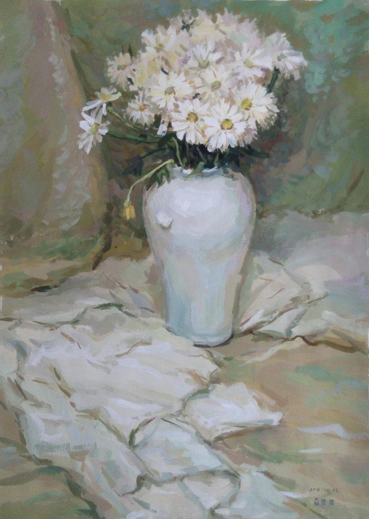Fei He - Bouquet of flowers - Paper, gouache - 54 x 38 cm - £135