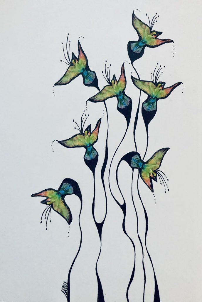 Annarita Mazzilli - Flight - Collage & pen drawing - 14.5 x 21 cm - £100