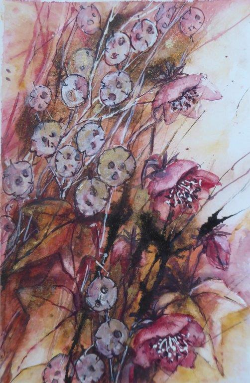Jane Dalton - Hellebores & Honesty 1 (unframed) - Watercolour + Acrylic Ink - 16 x 26 cm - £60