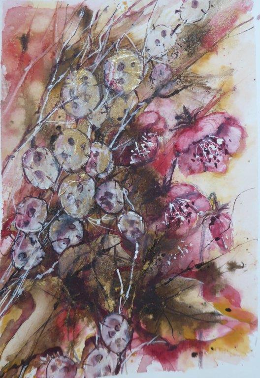 Jane Dalton -  Hellebores & Honesty 2 (unframed) -- Watercolour + Acrylic Ink - 16 x 26 cm - £60
