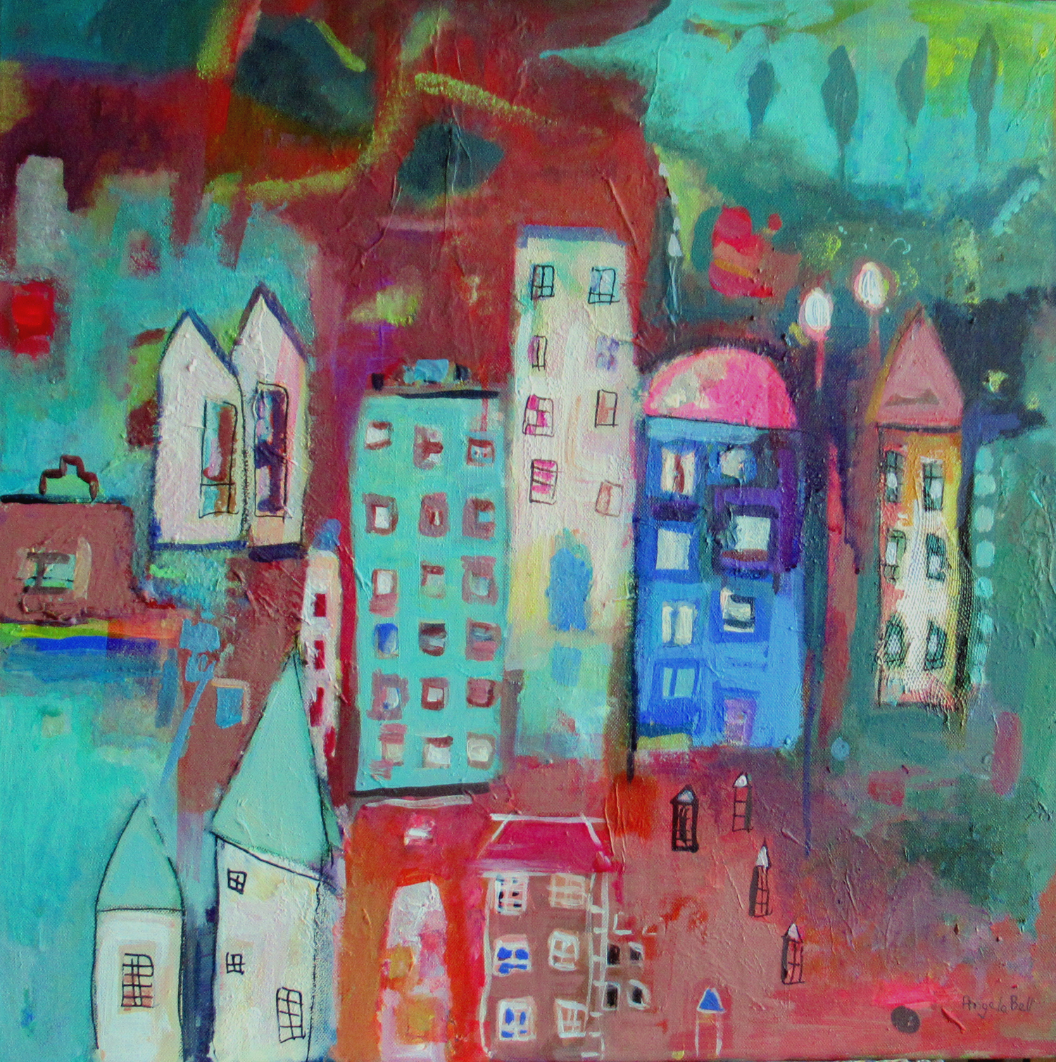 Angela Bell - Higgledypiggledy - Mixed Media - 60 x 60 box canvas - £315