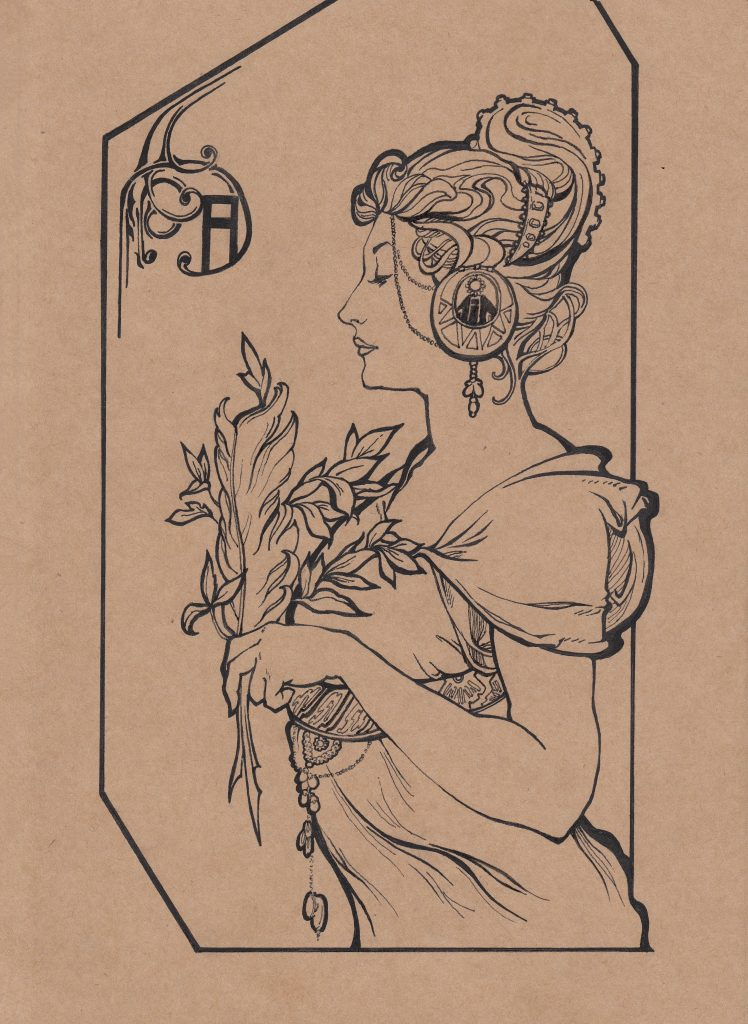 Fei He - Homage to Mucha 2 - Paper, ink - 19 × 25 cm - £35