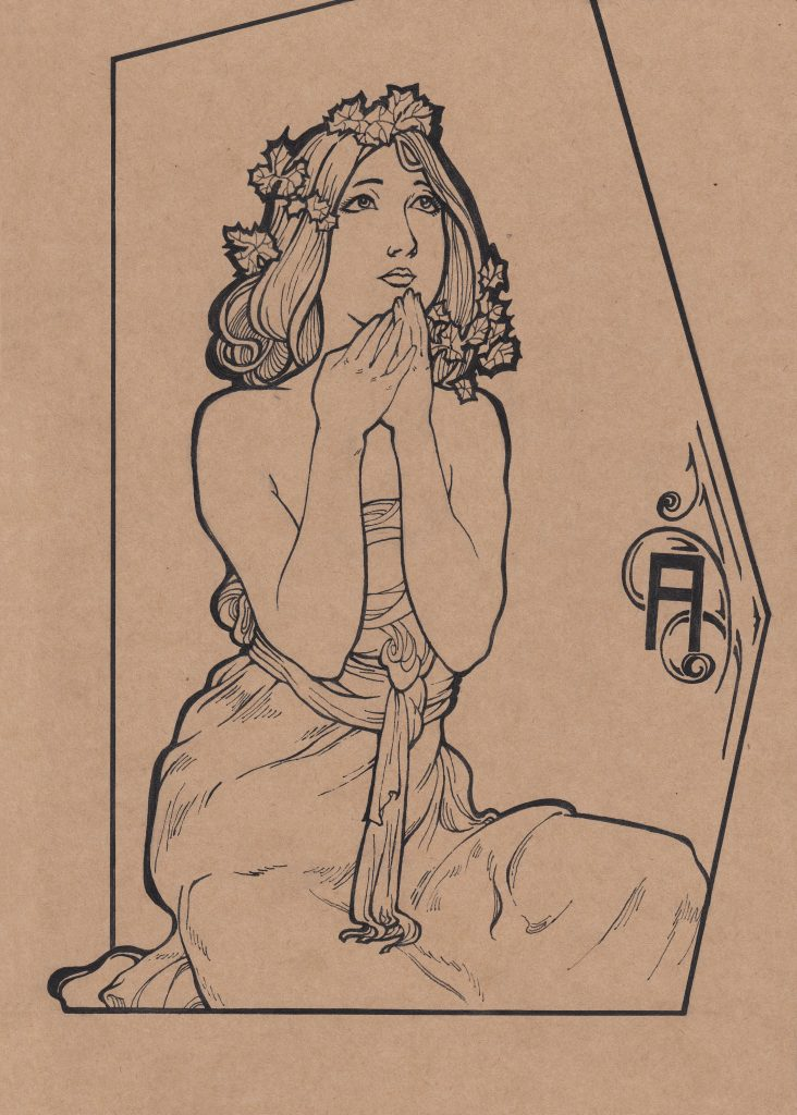 Fei He - Homage to Mucha 3 - Paper, ink - 19 × 25 cm - £35