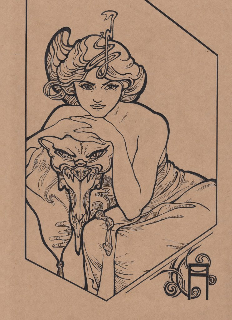 Fei He - Homage to Mucha 4 - Paper, ink - 19 × 25 cm - £35