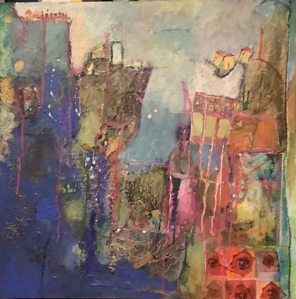 Angela Bell - Into the Sea - Mixed Media - 60 x 60 box canvas - £315