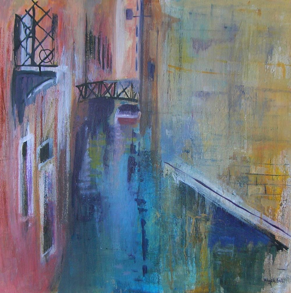 Angela Bell - Little Bridge - Mixed Media - 60 x 60 box canvas - £265