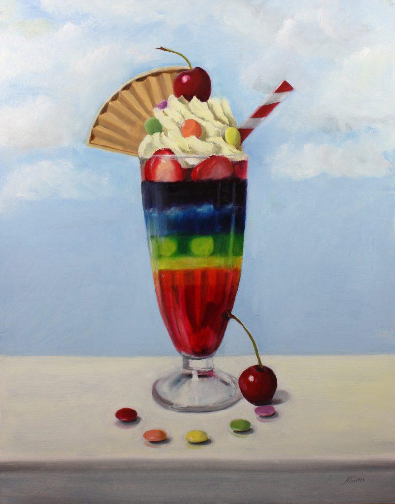 Nicola Currie - Lockdown Knickerbocker Glory - Oil paint on gesso board - 27.94 x 35.56 cm - £380