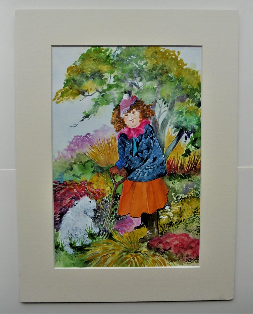 June Skinner - Grannie in the Garden - Watercolour - 30 x 40 cm - £50