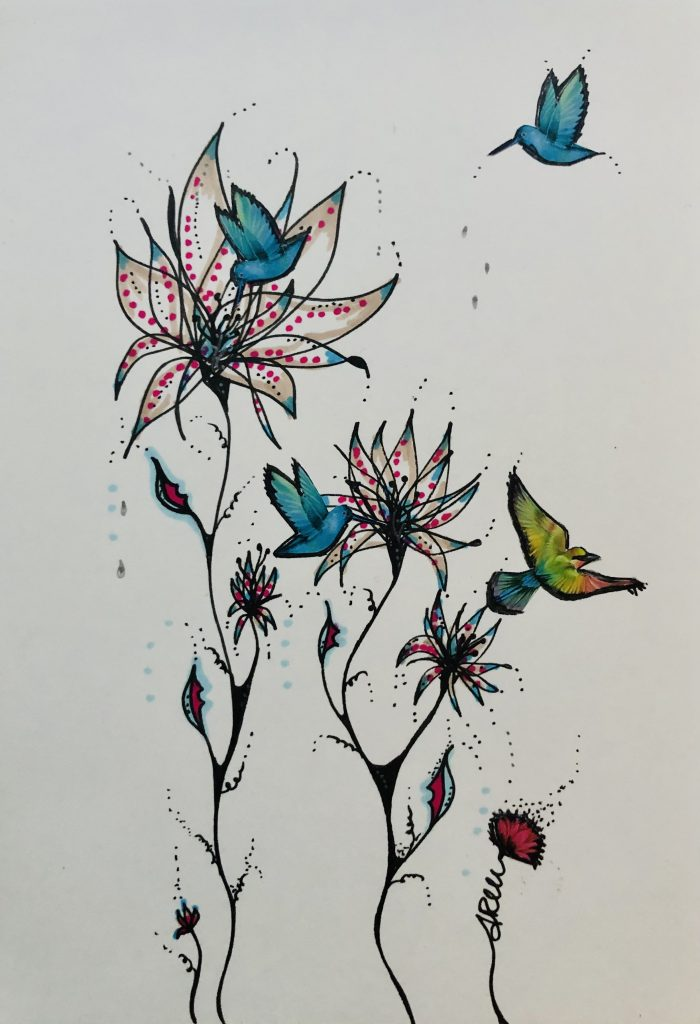 Annarita Mazzilli - Spring is back - Collage & pen drawing - 14.5 x 21 cm - £100