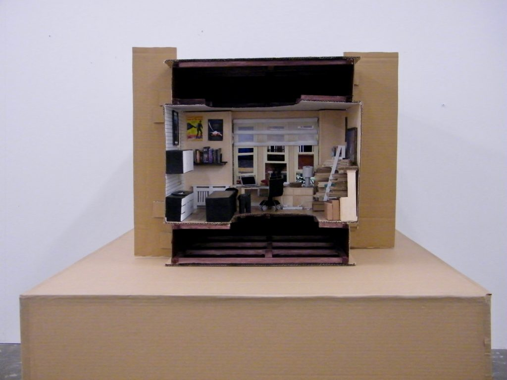 Tim Neath - Working from Home - Recycled Cardboard, Craft Materials & LEDs - 57.5 x 74 x 130 cm - NFS