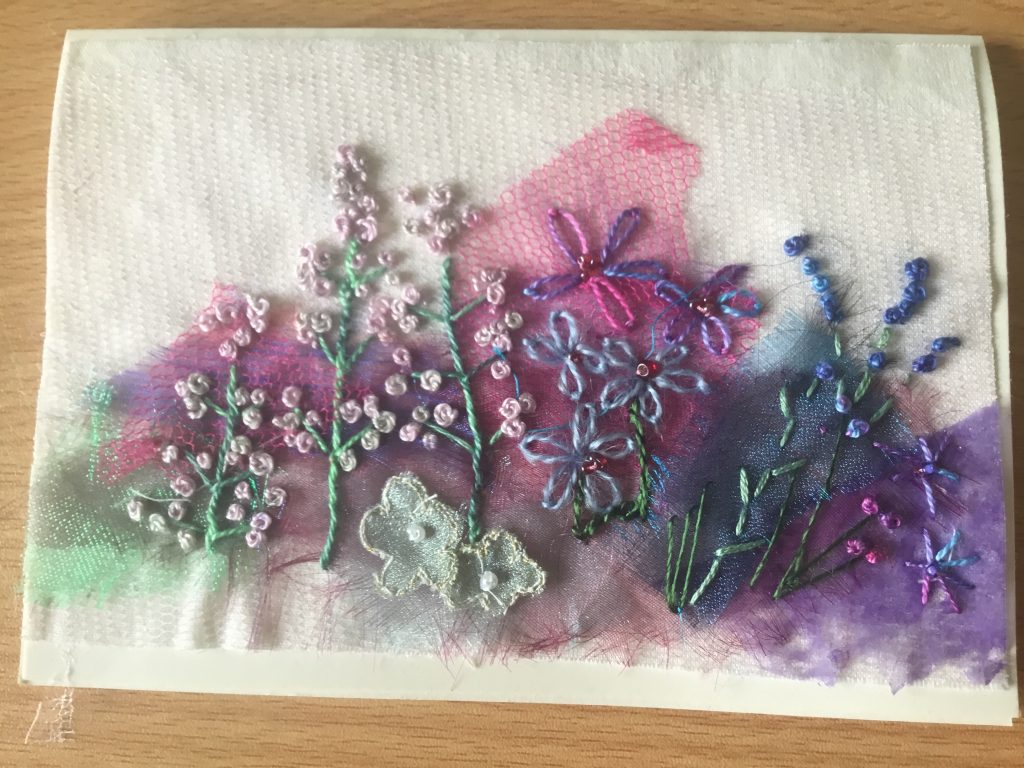 Val Simpson - Flowers 2 - Textiles Greeting Card - £4