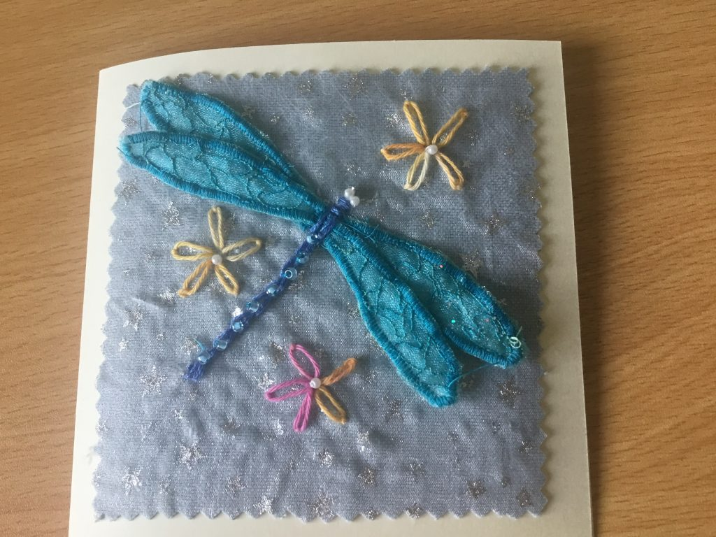 Val Simpson - Dragonfly - Textiles Greeting Card - £4