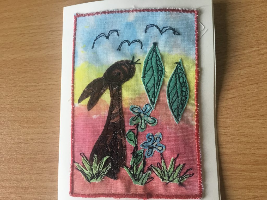 Val Simpson - Rabbit - Textiles Greeting Card - £4
