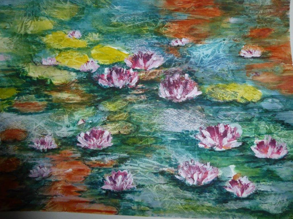 Jane Dalton - Waterlilies (Framed) - Watercolour + Acrylic - 55 x 45 cm - £120