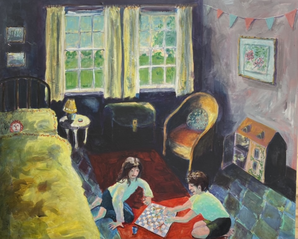 Annie Groom - Playing In The Shadow Of Covid - Acrylic on Canvas - 60 x 70 cm - NFS