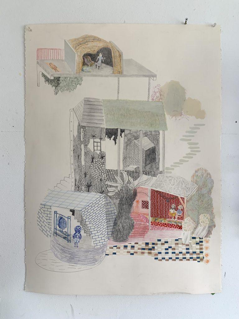 Jackie Berridge - Plan - Pencil, crayon on paper - 75 x 57 cm - NFS
