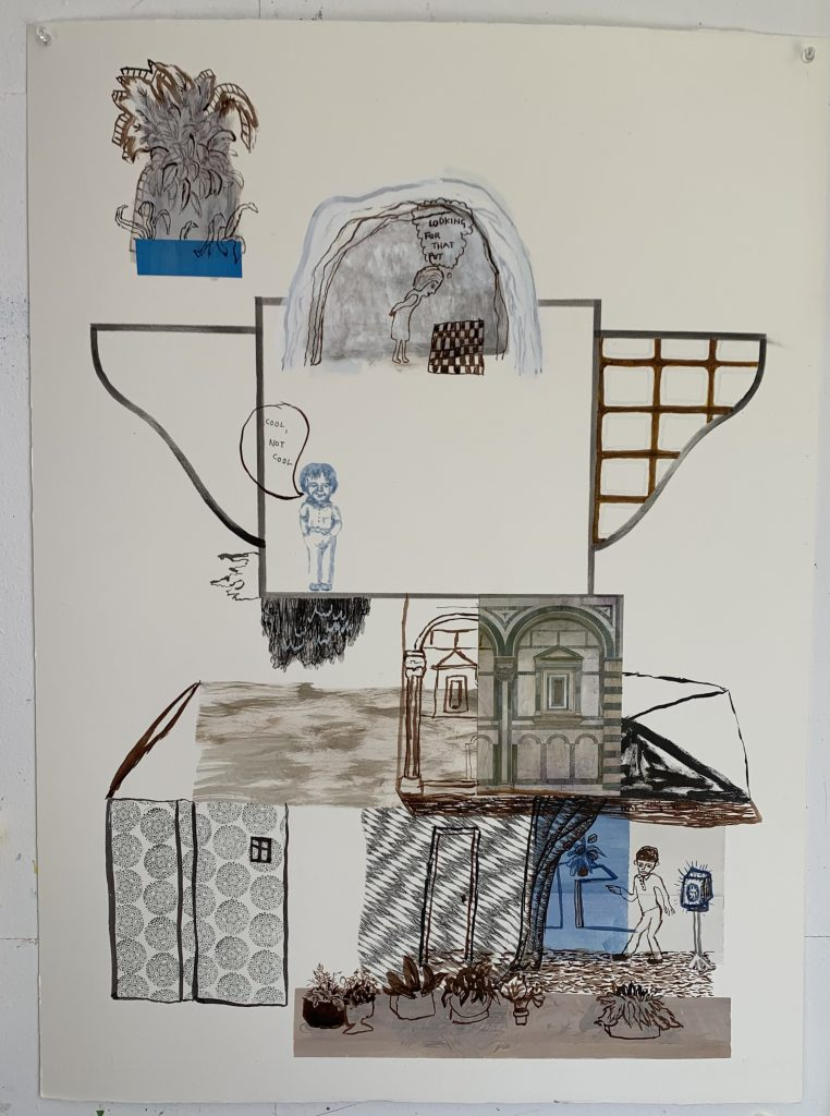 Jackie Berridge - Plan B- Watercolour, ink, acrylic and found postcard on paper - 75 x 57 cm - NFS