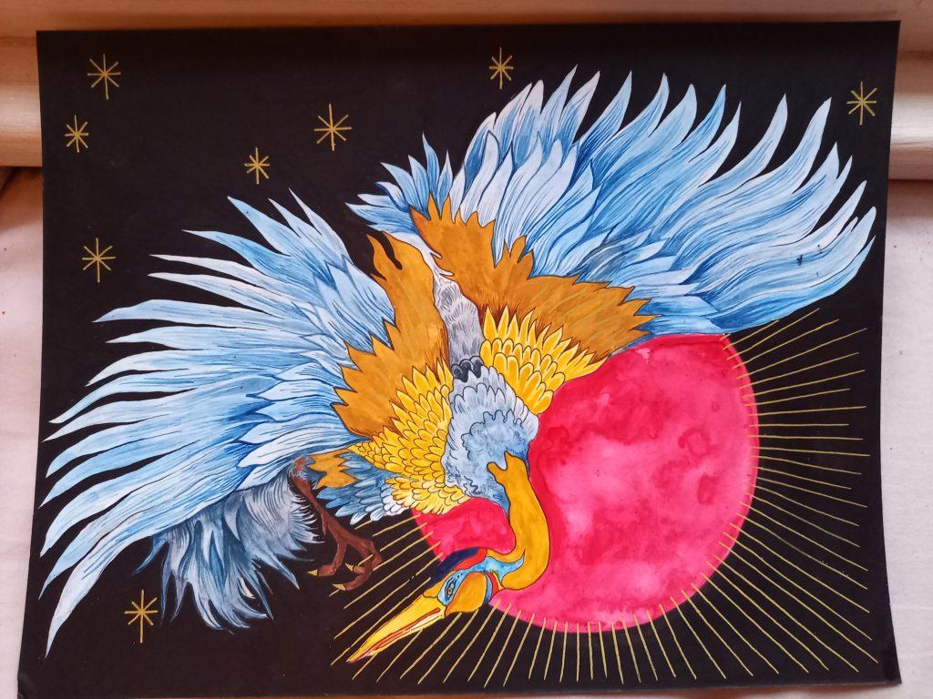 Elly Lynn - Night Crane - Watercolours and ink - 30 x 25cm - £40
