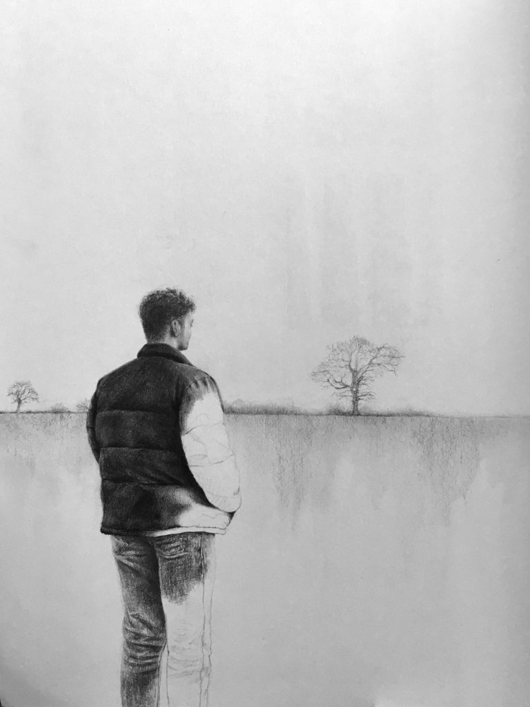 Joy Suddery - On A Walk - Pencil & graphite on paper - 29.7 x 42 cm - NFS