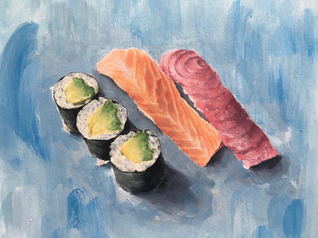 Joy Suddery - Sushi - Oil on paper - 17.5 x 14 cm - NFS