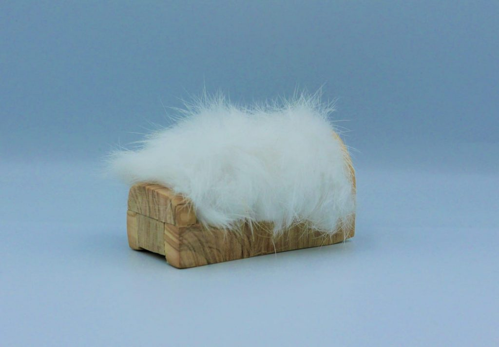 Helen Lees - Bed - Olive wood and rabbit fur - 6 x 4 x 4 cm - £99