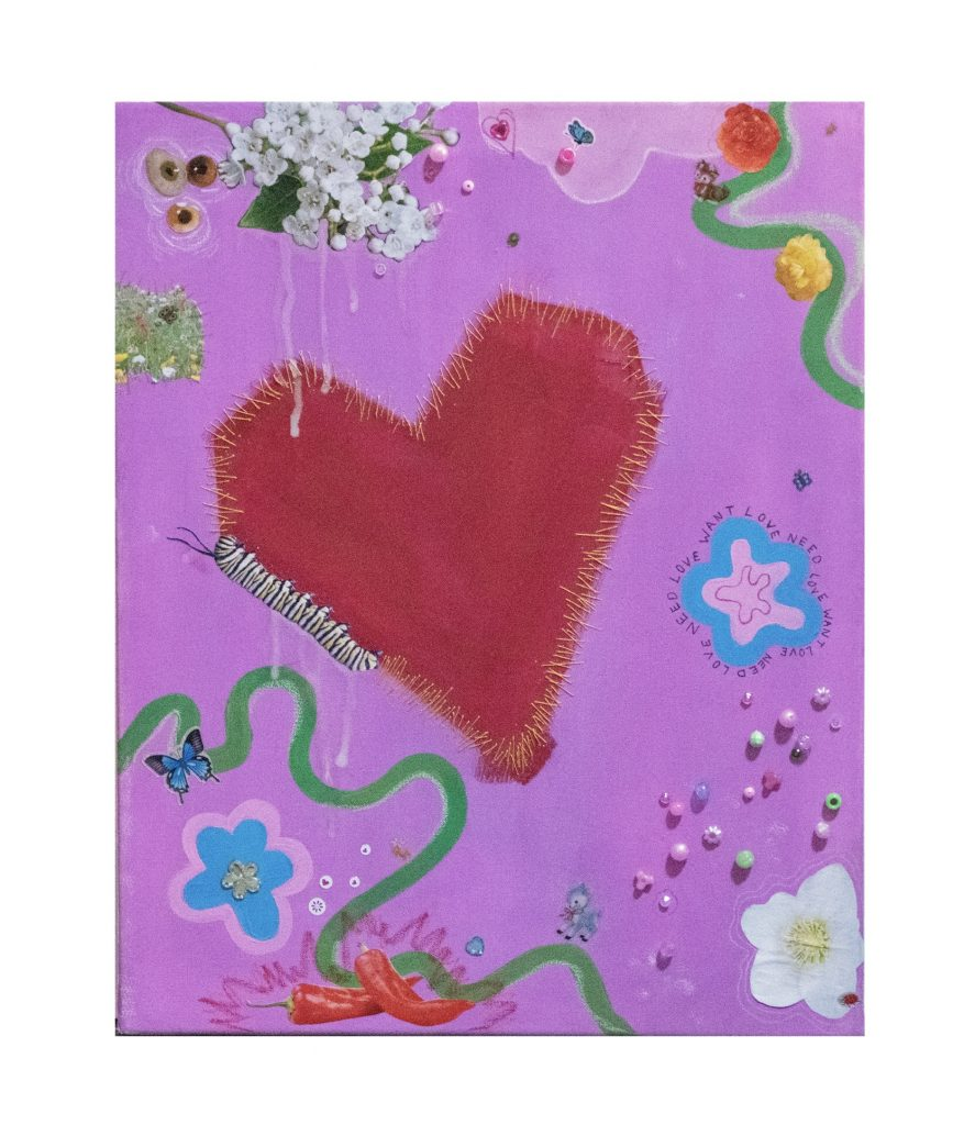 Liv Nightingale - WANT LOVE NEED LOVE - Gouache, collage, beads and thread on canvas - 59.4 x 42 cm - £65