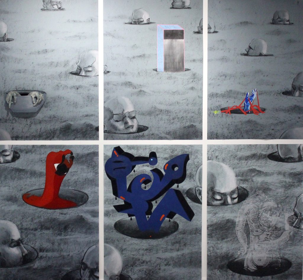 Yves Riguidel with collaborations by Connie Burley, Emily Bottoner, Leanne Bailey, Rebecca Cuff, Richard Drazan and William Hughes - Islands - Graphite with multimedia additions form collaborators - 176 X 242 cm - POA