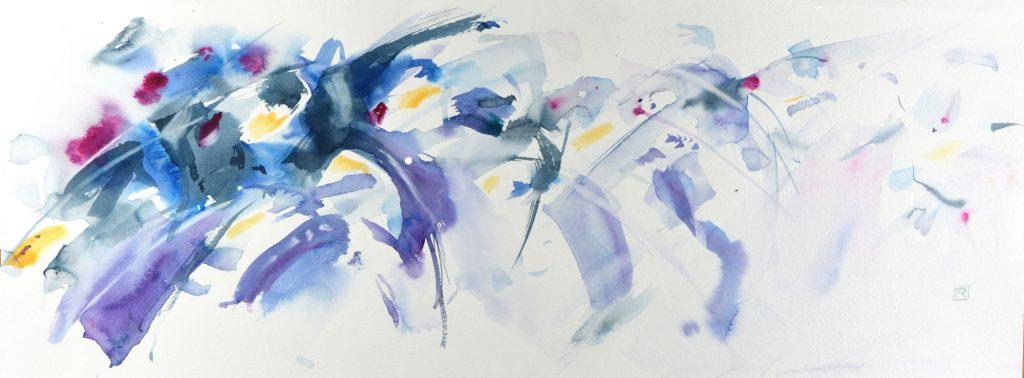 Yves Riguidel- Mouvement Abstrait  - Watercolour - 65 x 25 cm - £300