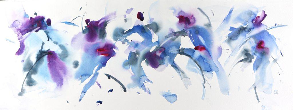 Yves Riguidel- Mouvement de Danse - Watercolour - 65 x 25 cm - £300