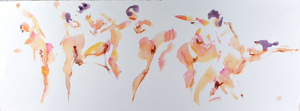 Yves Riguidel- Nu en Mouvement - Watercolour - 65 x 25 cm - £300