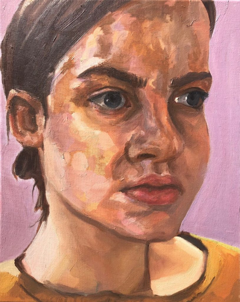 Rose Bourke - Remind me of a simpler time, Self Portrait (2020-1) - Oil on Canvas - 40 x 50 cm - NFS
