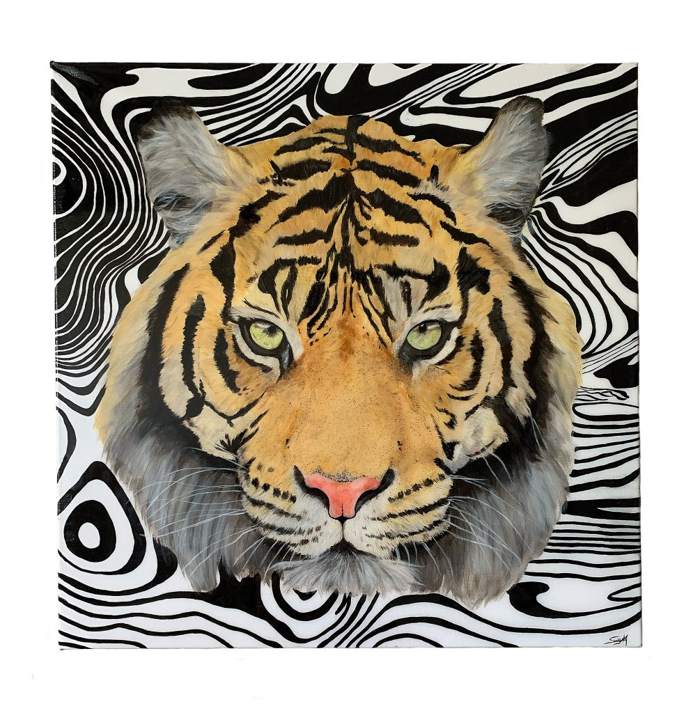 Salley-Anne Madeley - Tiger - Acrylic on Canvas - 60 X 60 cm - NFS