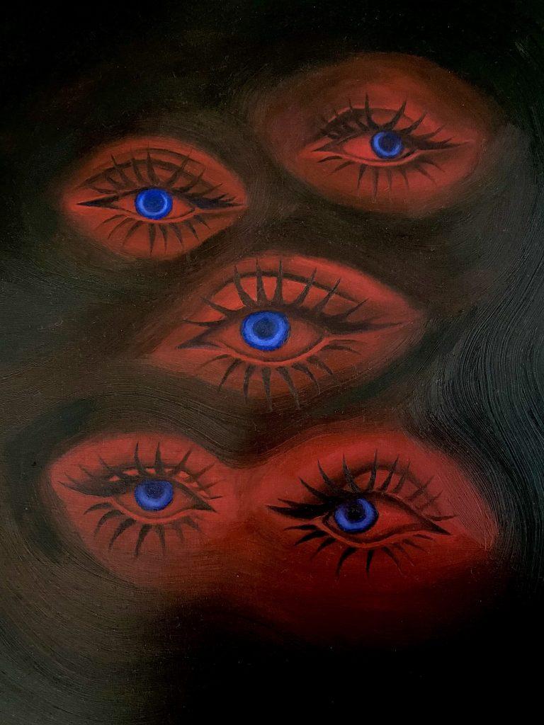 Safia Heath - Their Wary Gaze - Oil Paint on board - 23.5 x 30 cm - NFS