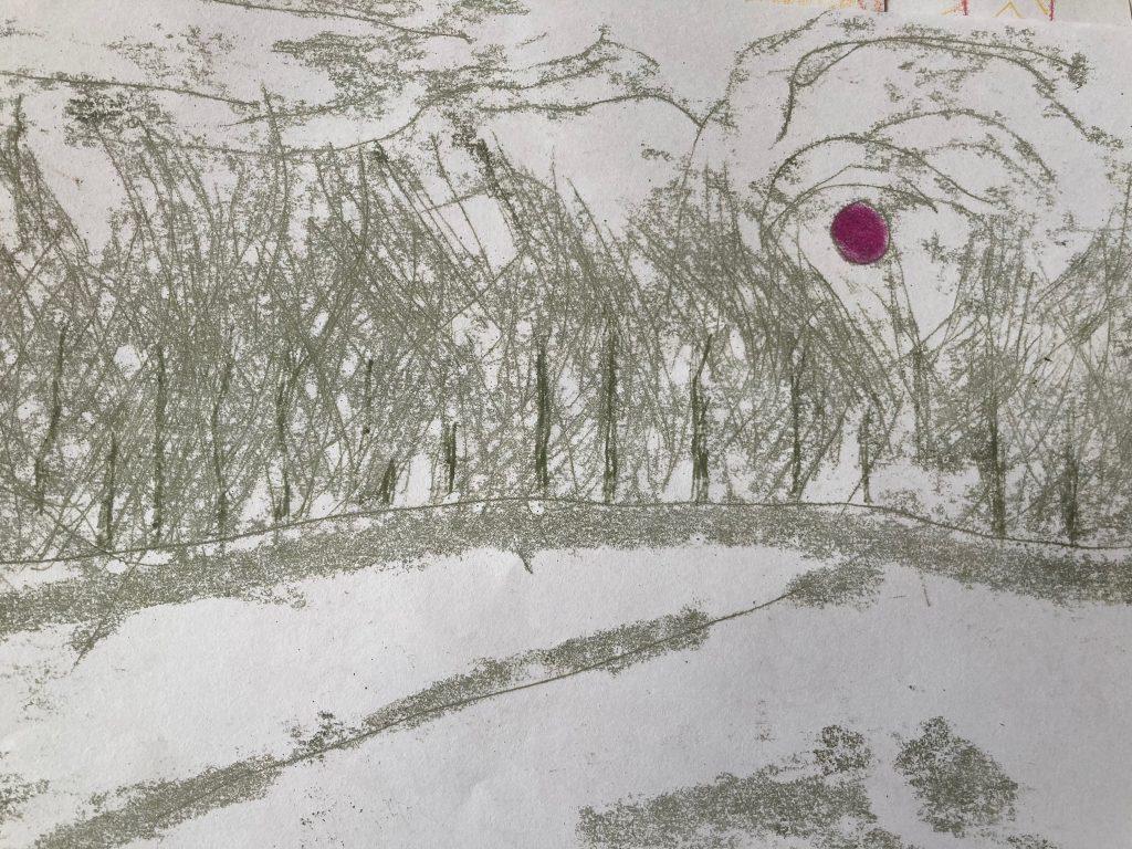 Mary Hayes - Unexpected Snow - Monotype - 21 x 29.7 cm - £100