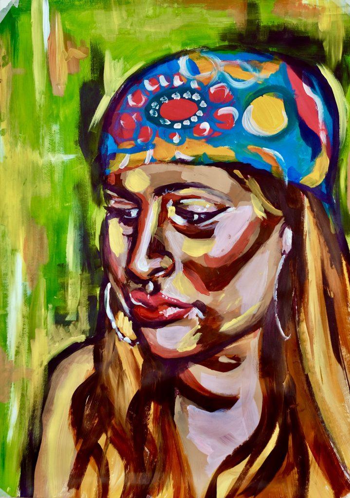 Yasmin Shah - SELF - Acrylic on paper - A2 - 59.4 x 42 cm - £70