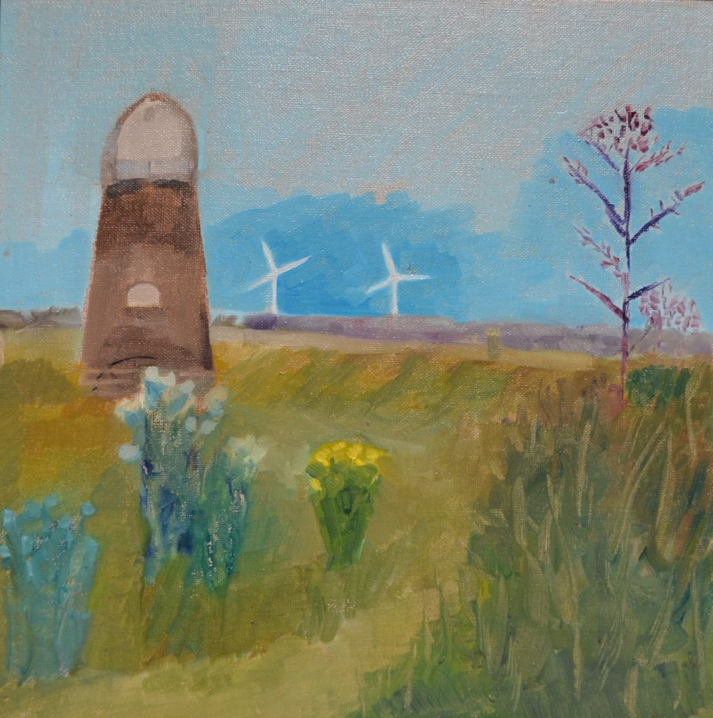 Lisa Banks - Old windmill and new wind turbines, Great Yarmouth- Oil on linen board - 30 x 30 cm - (unframed) - £85 + p&p