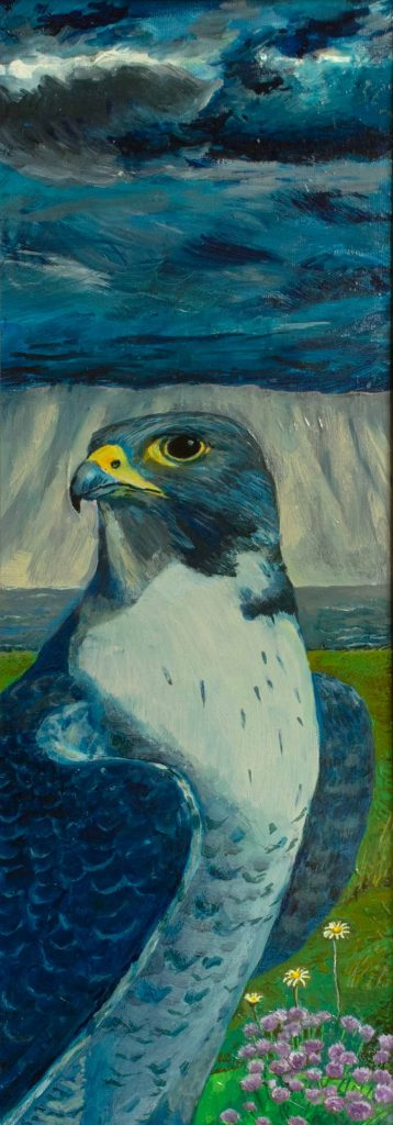 Lisa Banks - Peregrine and storm - Oil on canvas - 20 x 60 cm (framed) - £200 + p&p