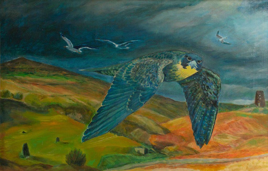 Lisa Banks - Peregrine and ancient landscape - Oil on linen - 60 x 40 cm (framed) - £225 + p&p