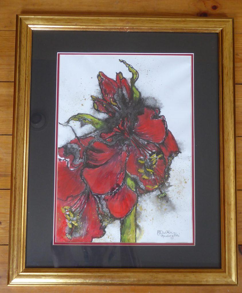 Jane Dalton - Amaryllis - Ink wash, pastel - 47 x 57 cm - £85