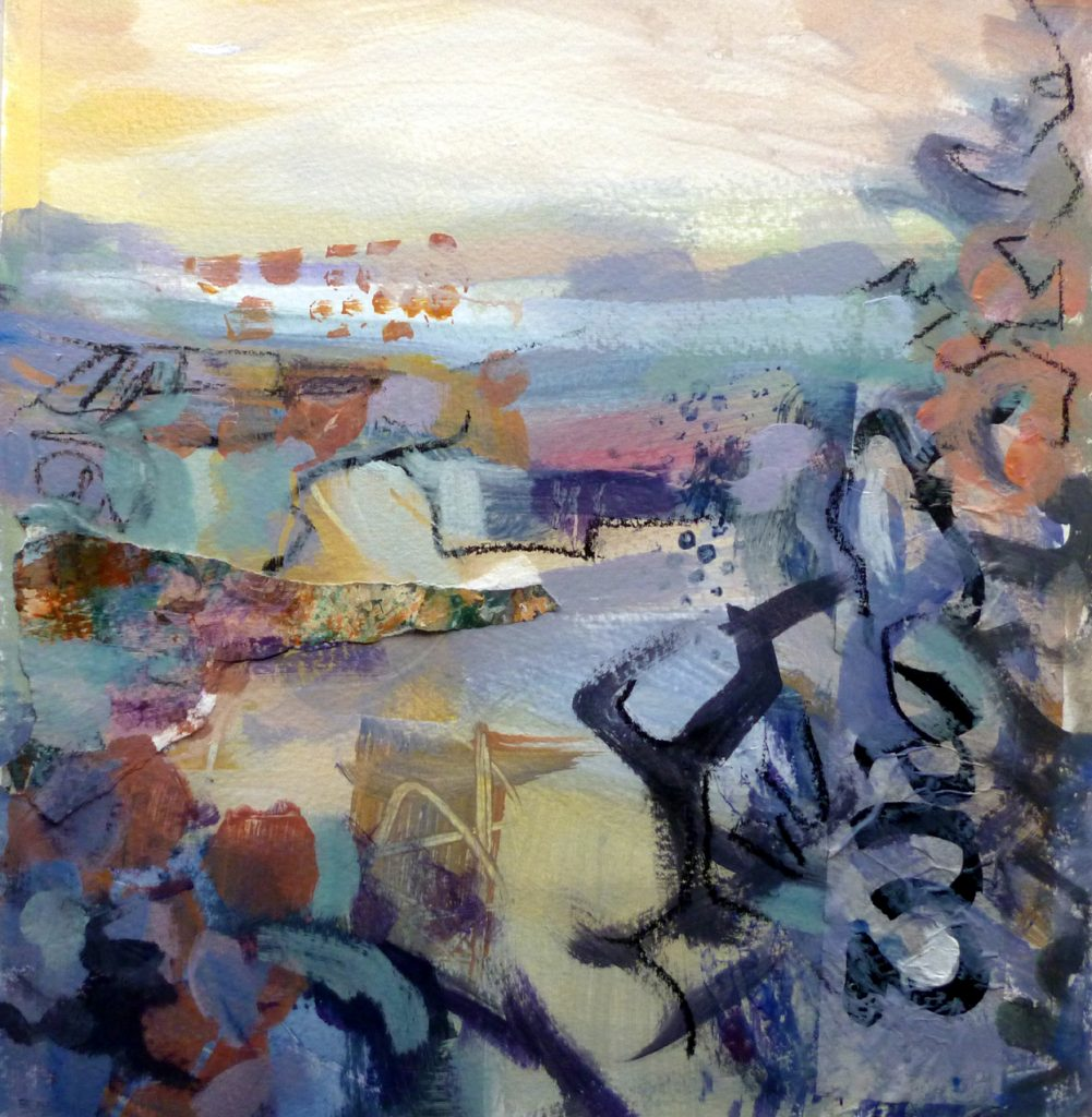 Nicky May - Away to the Sea I - Acrylic - 24 x 24 cm, with mount 40 x 40 cm (unframed) - £120