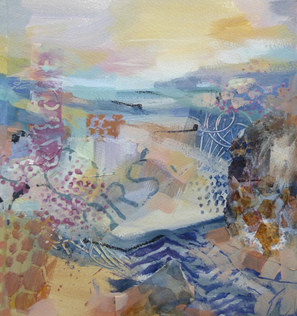 Nicky May - Away to the Sea II - Acrylic - 24 x 24 cm, with mount 40 x 40 cm (unframed) - £120