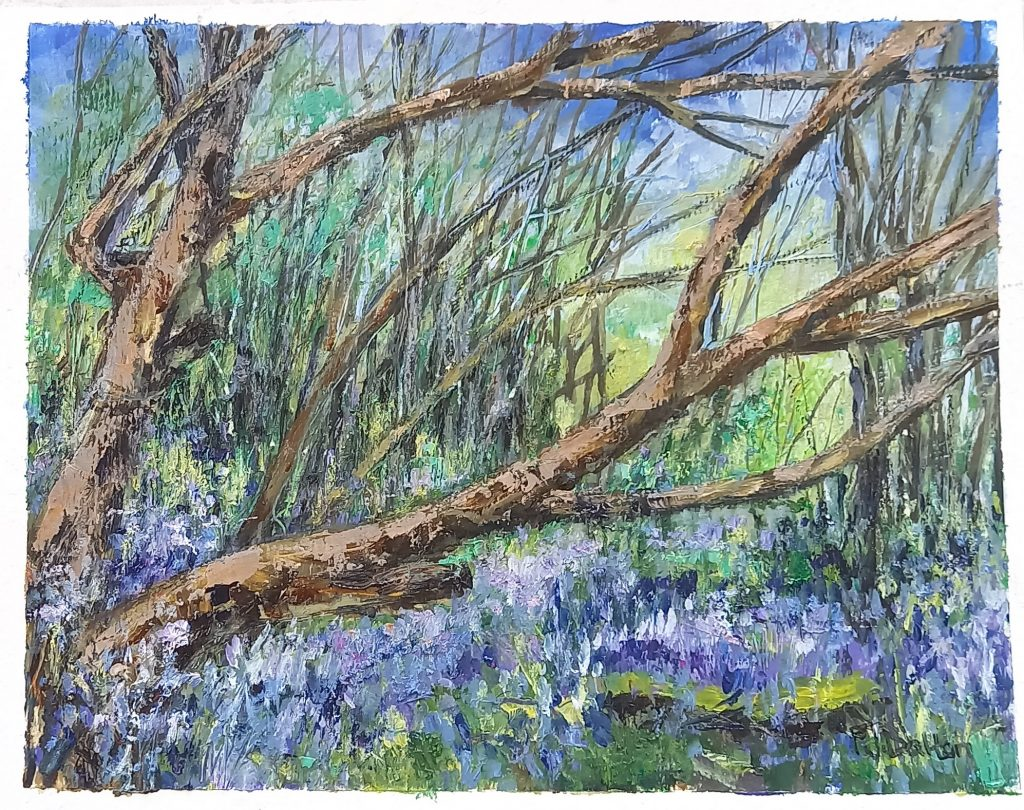 Jane Dalton - Bluebells in Wayland Woods - Oils – unframed, Painted Plein Air - 24 x 19.5cm - £40