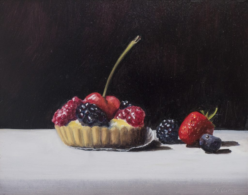 Nicola Currie - Summer Fruits Tart - Oil on Board  - 25.4 x 20.32 cm - painting Framed in a double off white and cream frame - £220 ((prices may slightly differ if purchasing outside the UK)