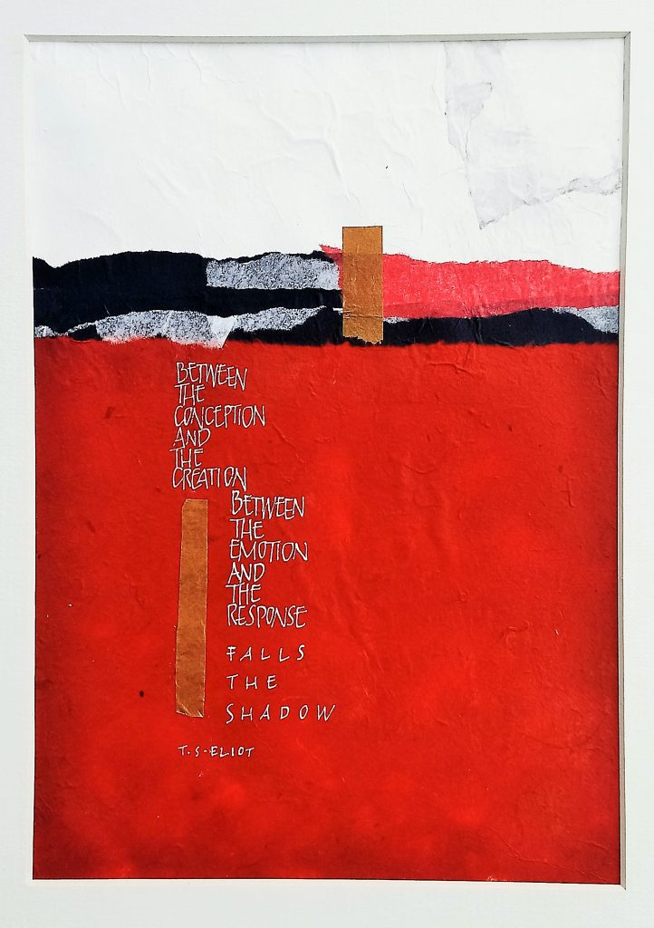 Jane Knights - Falls The Shadow - Collage & gouache - 28 x 35.5 cm - including blue mount (unframed) - £100