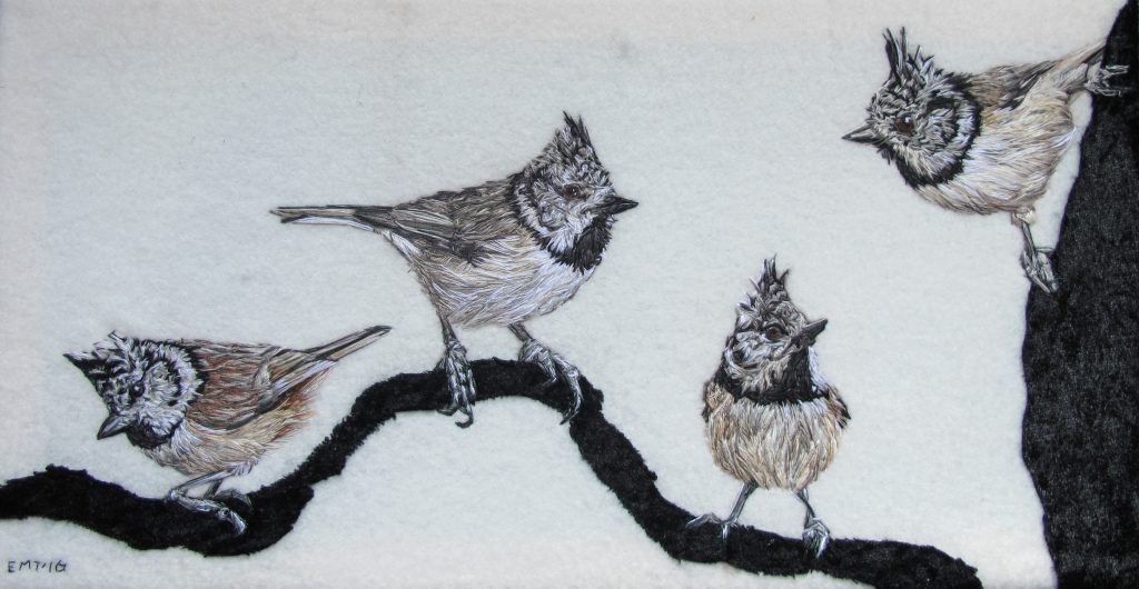 Emily Tull - Crested Tits - Thread painting, hand stitched - 20 x 38 cm - £400