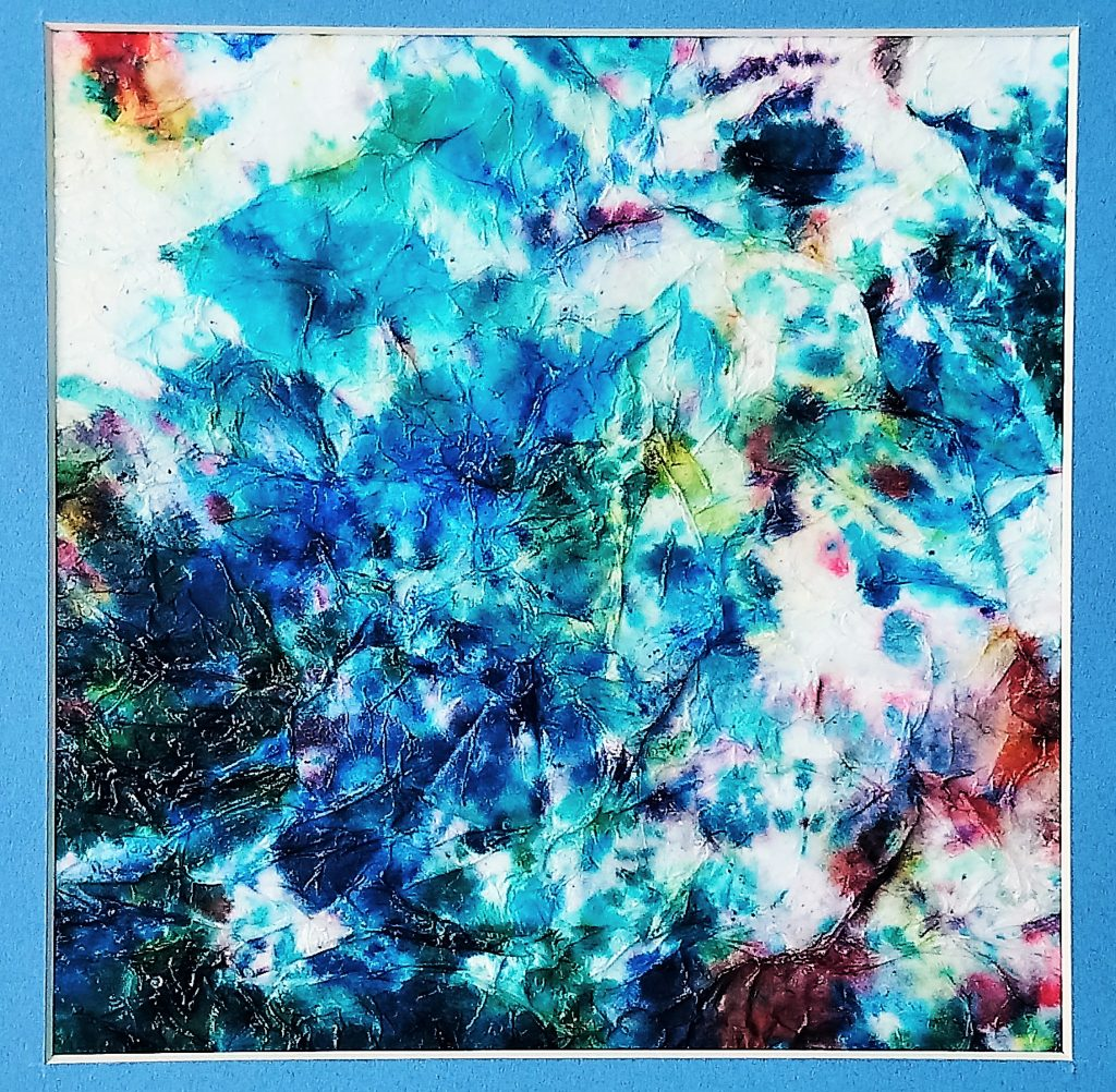 Jane Knights - Into The Blue - Textured paper & inks - 33 x 33 cm - including blue mount (unframed)- £135