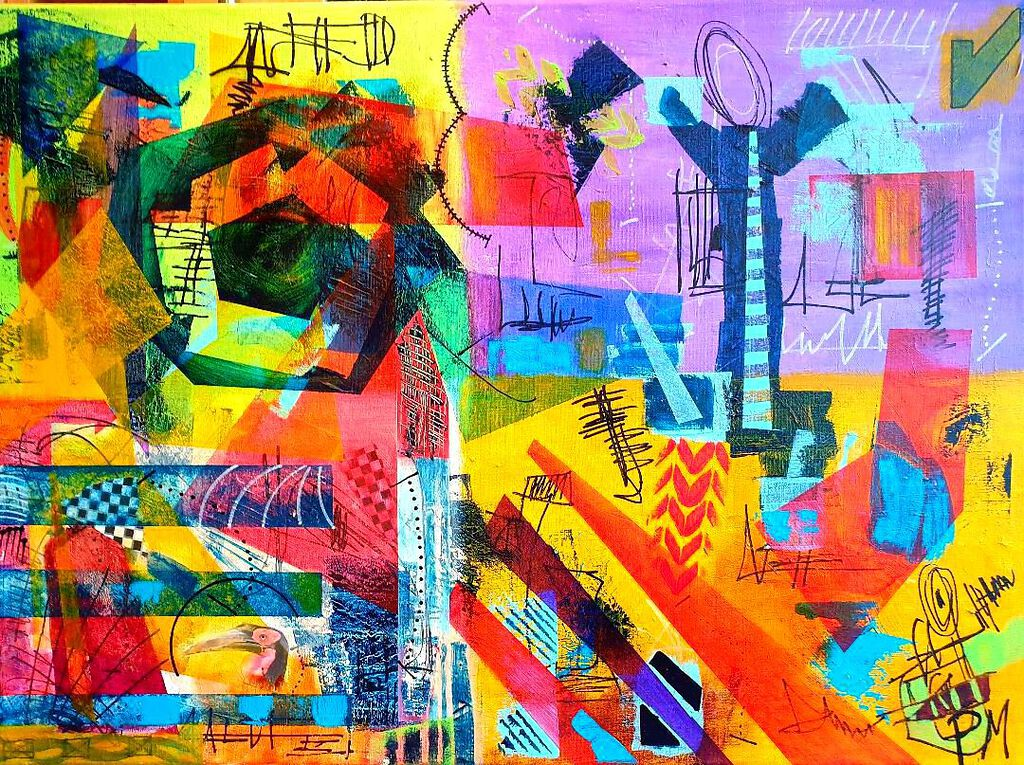 Philip McCumskey - Ma, My Tie is too Long - Acrylic on canvas - 50 x 70 cm - £320